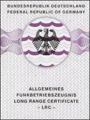 Picture of Funkbetriebszeugnis Long Range Certificate (LRC)